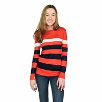 NWT Women's Hiho Emory Light Coral Night Sky White Striped 100% Linen Sweater XL