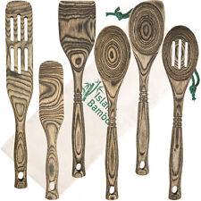 Island Bamboo Black Pakka Wood 6-Piece Utensil Set Kitchen Spoons Cooking Tools