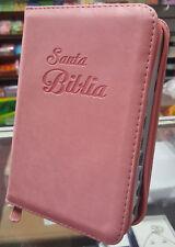 BIBLIA COMPACTA REINA VALERA 1960 CON CONCORDANCIA CIERRE E INDICE ROSADO FLORAL
