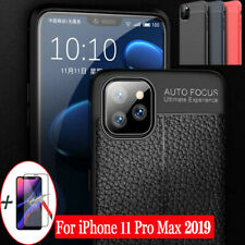 iPhone 11 Pro Max Back Case Soft Ultra Thin Leather Cover + 10D Screen Protector