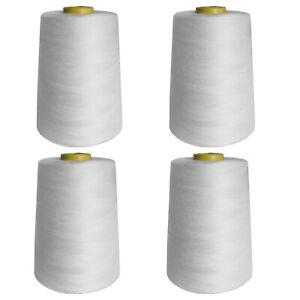 4Pcs 6000 Yards Quality Overlocking Sewing Machine Polyester Thread Cone, White