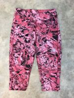 The North Face Girls Pink/Black Geormetric Athletic Cropped Leggings L 14/16