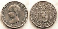 SPAIN-Alfonso XIII. 50 centimos 1889*8-9. Madrid. MBC+/VF+. Plata 2,5 g. ESCASA