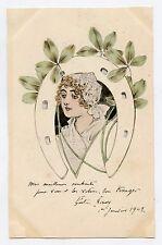 illustrateur GASTON NOURY . Meilleurs souhaits 1902 .