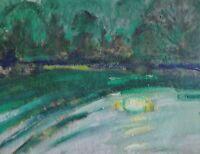 Franz Beck (1893-1983; Stade) Impressionismus- Gemälde: MONDLICHT AUF EINEM SEE