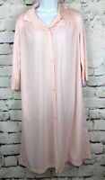 Vintage Vanity Fair Womens Pink Button Front Nightshirt Nylon Robe Pocket Small