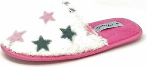 Ladies Star Slippers Womens Girls Teens Pink White Fluffy Mules Size 3-8