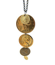 Vintage & Inspired Brass Coin Charm Antiqued Brass Chain Necklace