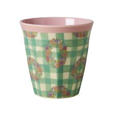 RICE Melamine cup in green vichy print - combined postage available