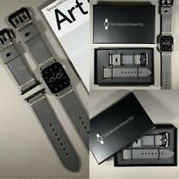 Grey Genuine Leather Strap For Apple Watch 42mm / 44mm Series 1,2,3,4,5,6,SE