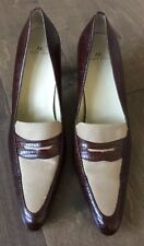 Anne Klein Womens Heels Shoes Sz 8.5 M Brown Leather Lizard Print Pumps