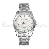 Men Simple Business Stainless Steel Band Luminous Dial Analog Quartz Wrist Watch