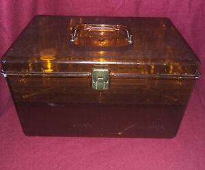 Large Vtg WIL-HOLD Wilson Mfg Plastic Amber Orange Sewing Box With 2 Trays USA