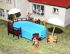 Backyard Swimming Pool & Timber Deck 68 x37 x15mm HO 1/87 Scale Resin & Wood kit