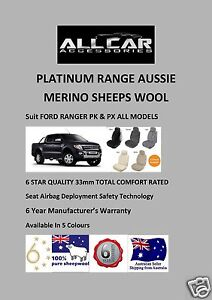 Ford Ranger PX1 and PX2 Sheepskin Car Seat Covers 33mm, 5 Colours, Airbag safe