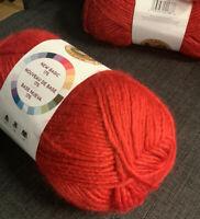 NEW Lion Brand New Basic 175, Tomato, 675-113 Med Wght(4), 25% Wool