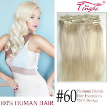 100% Real Chinese Human Hair Clips in Hair Extensions White Blonde 60# 70g