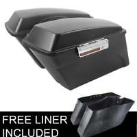 Matte Black Hard Saddle Bags Trunk w/Lid & Latch Fit For 94-13 Harley Touring FL