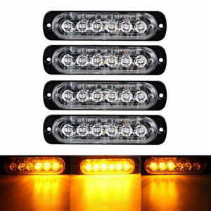 4pcs 6 LED Amber Emergency Warning Strobe Light Bar Car Truck Danger Beacon 18W