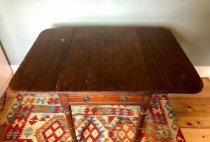 Antique wood drop leaf dining table