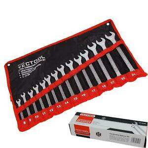 TecTool 14pc Matt Finished Metric Combination Spanner Wrench Set 8mm - 24mm