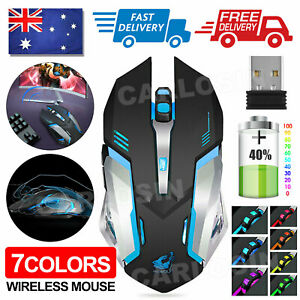 LED Wired Wireless Gaming Mouse USB Ergonomic Optical For PC Laptop Rechargeable
