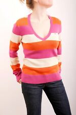 Tommy Hilfiger Candy Striped V Neck 100% Lambswool Sweater (M) Medium UK12 NICE