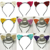 Floral Cat Ears Headband Party Costume Women Lady Head hair band Hair Accessory