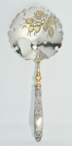 Superb Antique French Sterling Silver Handled & Vermeil Berry Spoon Srawberries