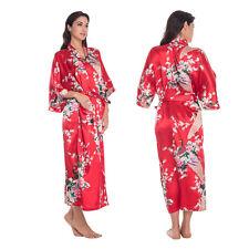 Bride Bridesmaid Long Women Kimono Robe satin silk Night dressing Gown Bathrobe