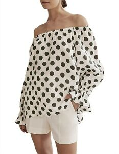 Country Road Print Frill Sleeve Top, Blouse Size 6 White BNWT RRP $139