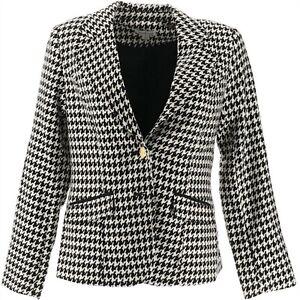 Joan Rivers Long Slv Houndstooth Stylish Chic Blazer Black White 28W NEW A234674