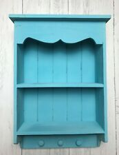 Shabby Chic Wall Unit Shelf Cupboard Hooks Rustic Small Display Wooden Cabinet