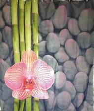 Zen Fleur Orchidée sur galets pierres Rideau de Douche 180 cm x 200 cm polyester crochets