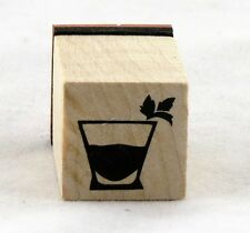 Cocktail Glass Wood Mounted Rubber Stamp Inkadinkado NEW bar party hour drinks