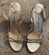 JIMMY CHOO AUTH Women's Gold Leather Heels Slingback Sandals Size 40. Ret $799