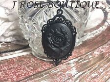 #JR738ft AMULET BIKER WITCH CELTIC MEDIEVAL BLACK ROSE GOTHIC Cameo Necklace