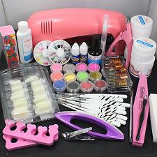 US Sale Nail Art Kit 9W Lamp Dryer UV Gel Brush Nail Tips Top Coat Glue Tools