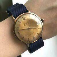 GLASHUTTE Watch Germany 60s GUB Vintage Gold Plated Original Date SERVICED Rare