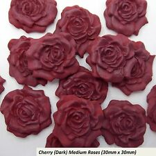 12 Cherry Sugar Roses edible wedding cupcake birthday cake decorations 30mm