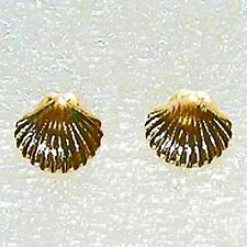 Scallop shell gold stud earring