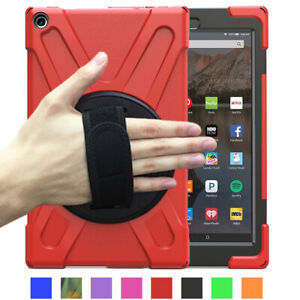 For Amazon Fire 7 / HD 8 / HD 10 Tablet Hybrid Armor Case Cover with Stand Strap