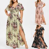Women Plus Size V Neck Floral Print Short Sleeve Boho Dress Party Maxi Dress