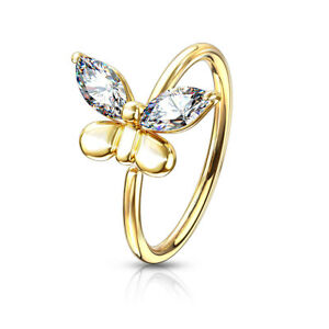 CZ Butterfly Bendable Ear Cartilage Daith Tragus Helix Hoop Nose Rings 20G