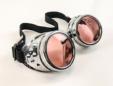 Blush Lens Silver Goggles Steampunk Punk Goth Burning man Sun glass 3 Set Lens