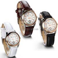 Leather Band Round Quartz Analog Elegant Classic Casual Girls Wrist Watch New