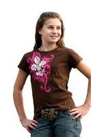 CRUEL GIRL Fleur De Lis Western Cowgirl Rodeo Tee T-Shirt Pink Brown NWT