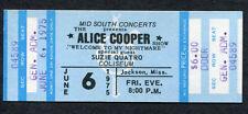 Alice Cooper 1975 Unused Full Concert Ticket Jackson MS Welcome To My Nightmare
