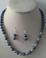 8MM blue/gray South Sea Shell Pearl necklace earrings set AAA Grade j023