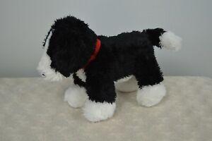 Carter's Black White Puppy Dog Plush Stuffed Animal Toy Red Collar Lovey 2015